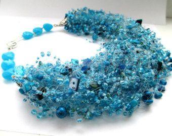 Schillernden Pfau luftig Perlenkette  lila blau Samen Perle