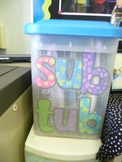 Sub Tub Ideas Looks like a lot of work in the beginning, but would save a lot of time in the future (especially since I LOATH writing sub plans).