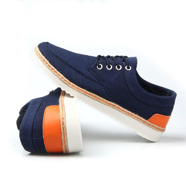 US Size 6.5-11.5 Men Sneakers Canvas Causal Outdoor Sport Flat Comfortable Oxfor - US$37.42