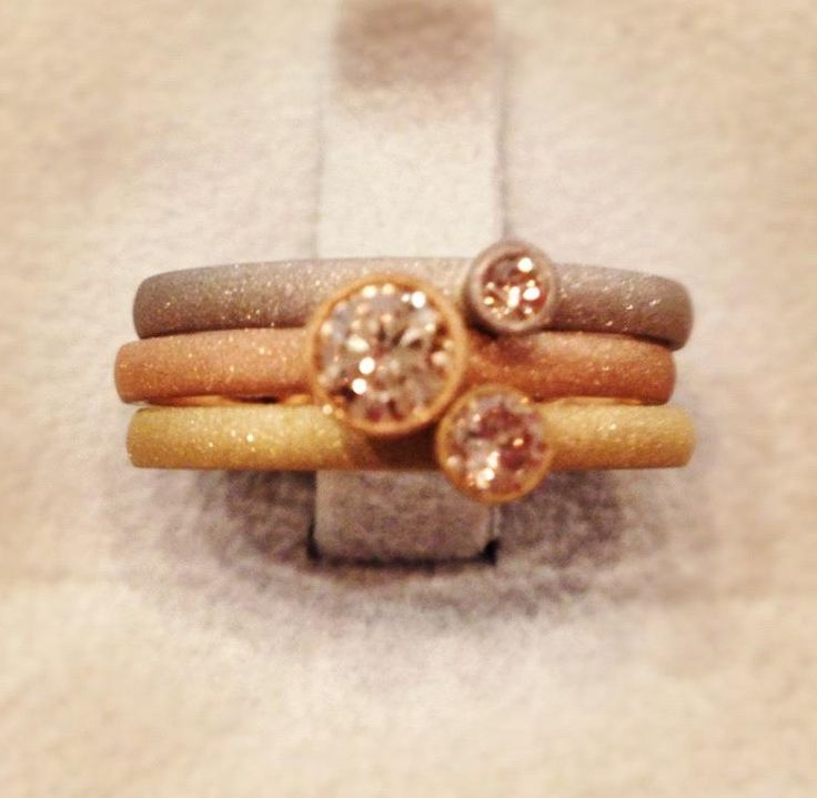 Drown diamonds, rose, white and yellow gold stacking rings.  #bespoke jewellery