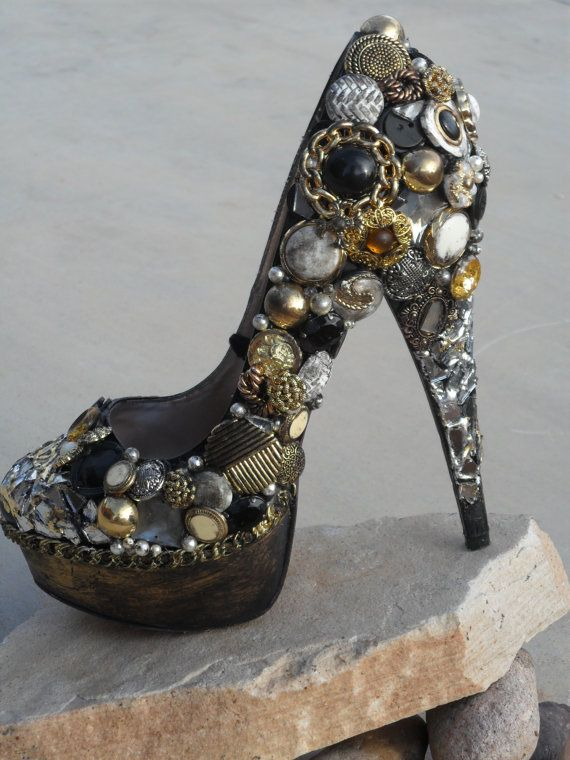 Gold Black Vintage Button Mirror Chain Custom von ShoesForQueens, $195.00 Embellish shoes. If you make them with your broken vintage jewelry it would be a show stopper.