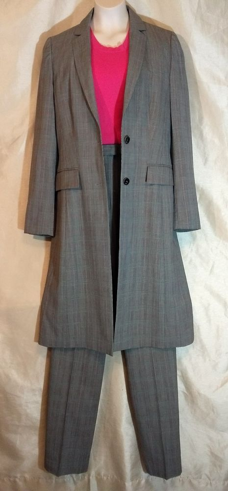 Escada Three Piece Suit Jacket Skirt Pant  Medium wool Blend lined red Size 34 #ESCADA #3Piece