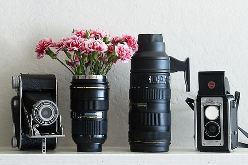 lens flower vase | photojojo | Tumblr  Wonder if I can do this with my old Minolta lens??