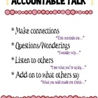 Accountable talk - sentence starters and questions for TPS activities