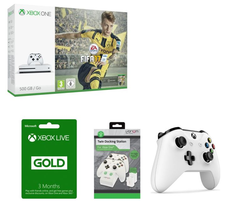 MICROSOFT  Xbox One S with Gaming Bundle Price: £ 304.00 The Xbox One S is an enhanced Xbox console, which is 40% smaller and with High Dynamic Range technology to make games look better than ever. _____________________________________________________________  Xbox One S Dive into the world's greatest games on a 40% smaller, more streamlined console with a modern new design. A 500 GB hard...