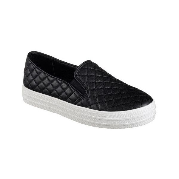 Women's Skechers Double Up Duvet Slip-On Sneaker ($52) ❤ liked on Polyvore featuring shoes, sneakers, black, casual, slip-on sneakers, quilted slip on sneakers, black slip-on shoes, skechers sneakers and retro sneakers