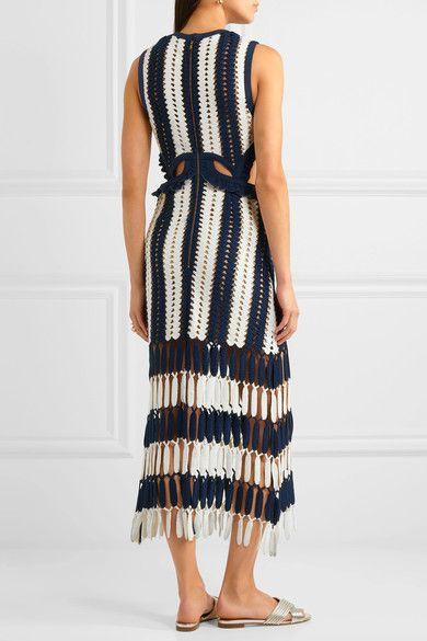 Self-Portrait - Striped Crochet-knit Midi Dress - Navy