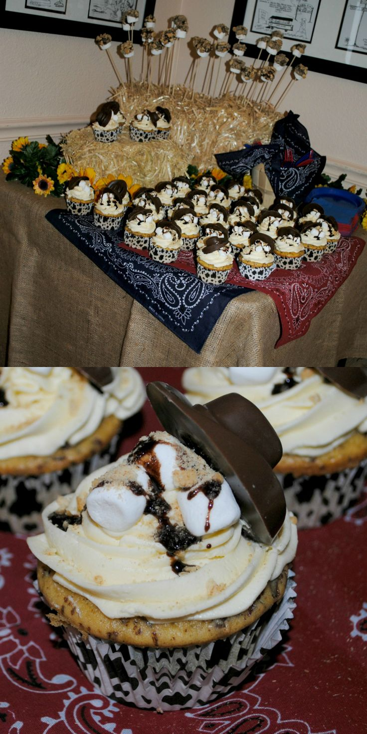 Western theme dessert. Cowboy cupcakes. Chocolate cowboy hats. Baby shower dessert.