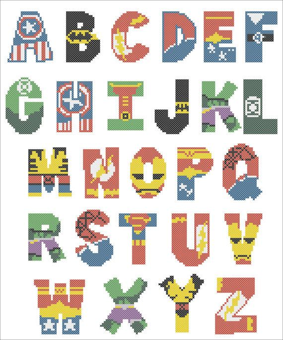 BOGO FREE! Superheroes Marvel ALPHABET Cross Stitch Pattern - pdf pattern…