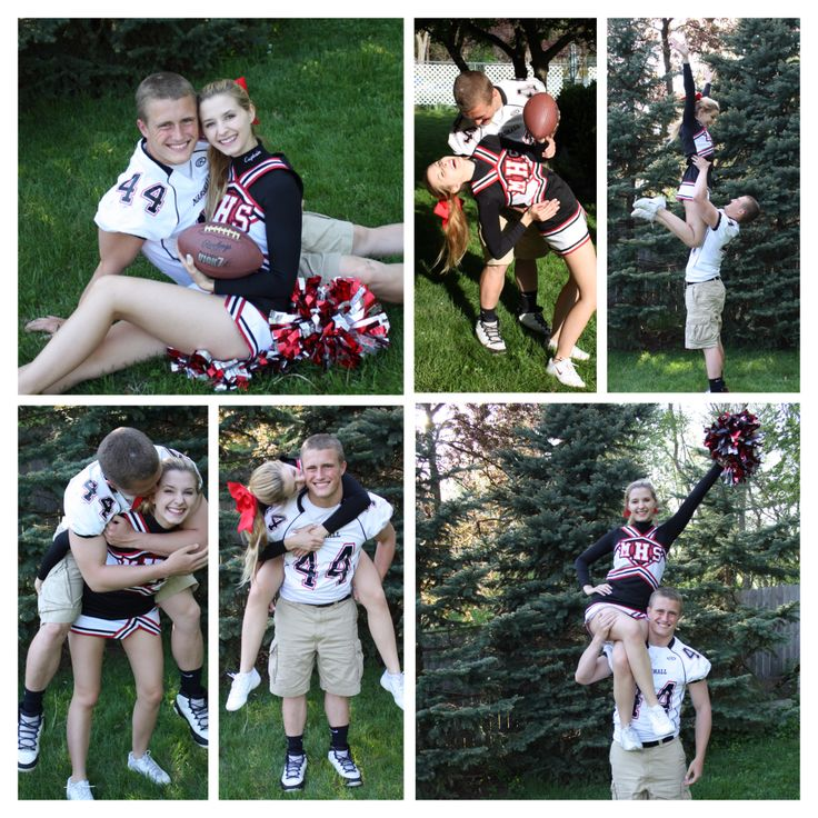 Senior pictures. Cheerleader football player couple pictures.
