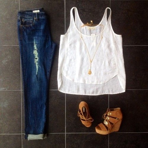 A great casual #styledbymonica look! @belladahl top paired with distressed jeans and @cynthiavincent wedges.  (at By Request)