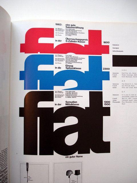 Swiss Graphic Design - Publicite 12 try for type specimen (light, regular, bold, etc.)