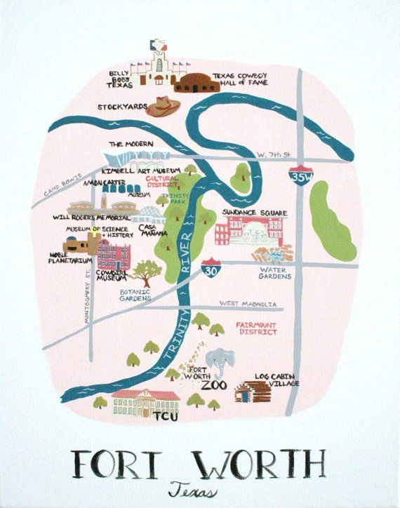 My City Of Fort Worth Print Fort Worth Texas Map Map Of Fort Worth Texas Housewares Baby Kids Fort Worth Texas Fort Worth Map Fort Worth