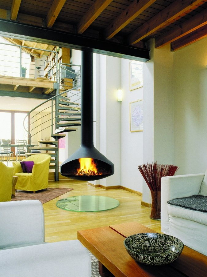 Open hanging steel fireplace ERGOFOCUS by Focus | #design Dominique Imbert #fireplace #staircase #interiors