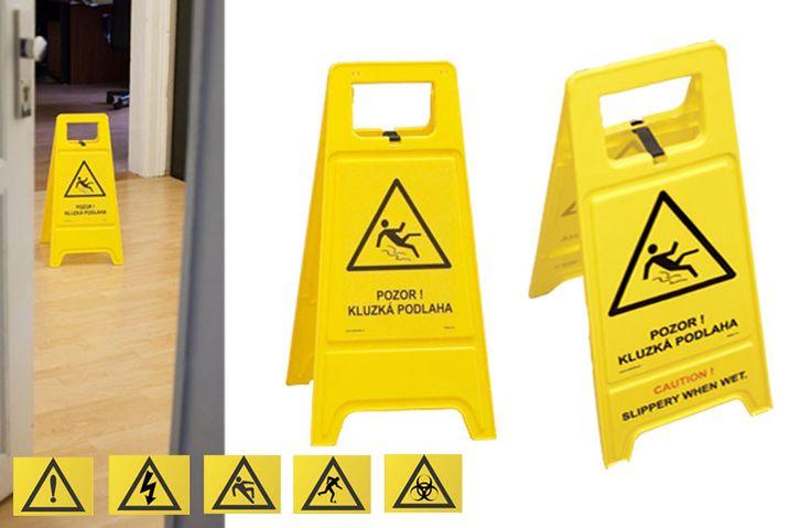 Výstražný stojan- tabule - Pozor! Kluzká podlaha, 175 Kč s DPH.