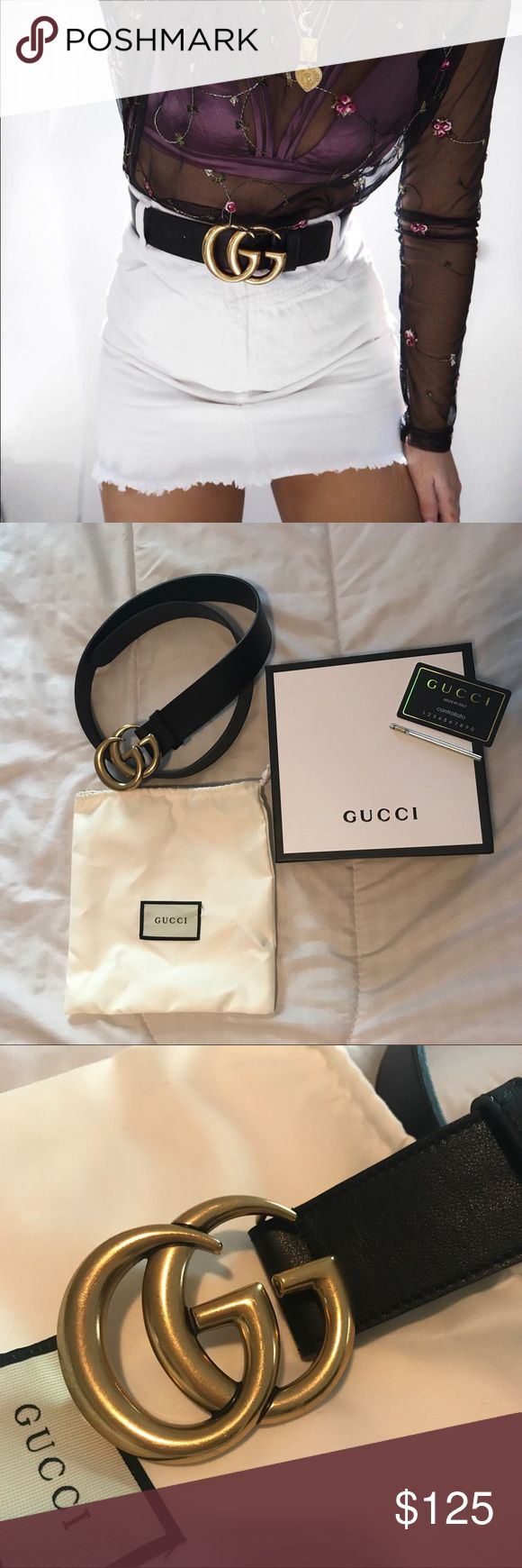 Gucci Double G belt ❌ PRICE REFLECTS AUTHENTICITY ❌ Selling for a friend! Gucci Double G belt. Size 90. Black belt with heavy sturdy gold double G buckle. A few extra holes were made with a belt hole puncher to fit a 27-28 inch waist. She wore once otherwise. Excellent condition. Comes with everything pictured. $100 aypal‼️ Gucci Accessories Belts