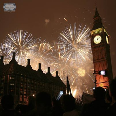 The Big Ben chimes 12 times!  #London has just said a huge welcome to 2014! The cold winter air is filled with excitement and the skies are lit up like never before.