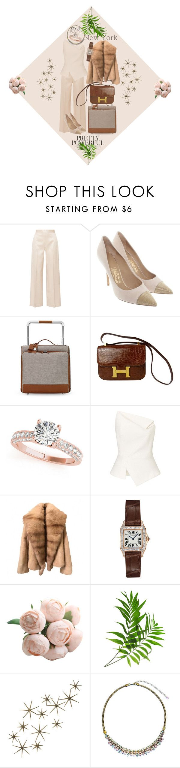 🌴Hello New York 🌴 by dns328 on Polyvore featuring Roland Mouret, The Row, Salvatore Ferragamo, Hermès, Cartier, Sorrelli, Global Views, necklace and fashionset