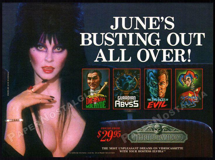 ELVIRA - Thriller Videos__Orig. 1985 horror video Print AD / promo__SUZE RANDALL