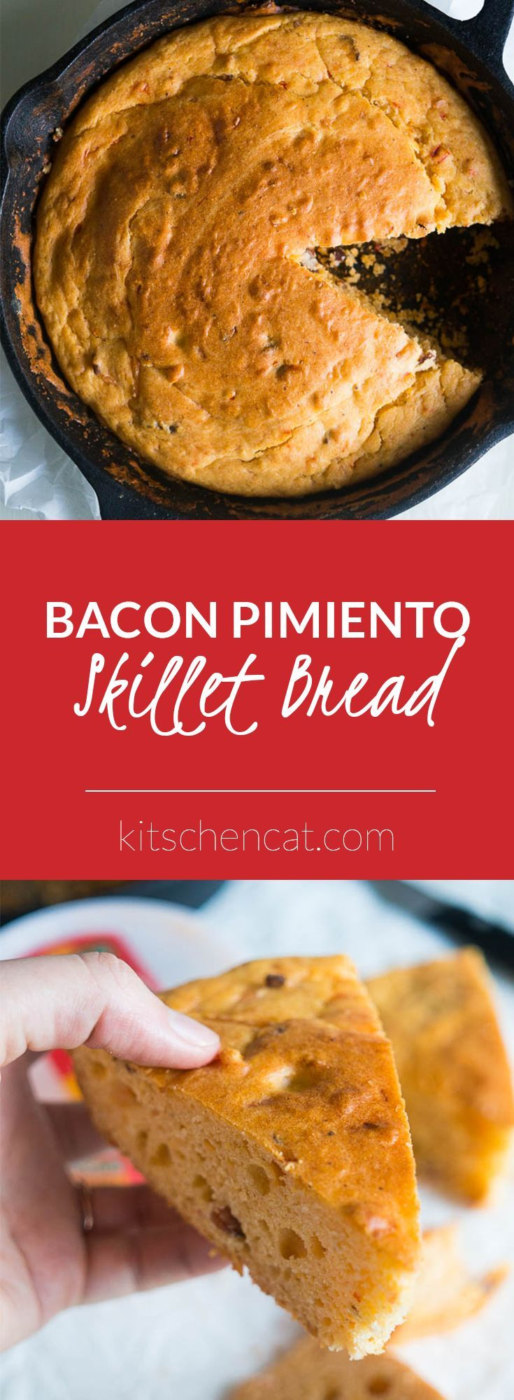 Bacon Pimiento Cheese Skillet Bread is the perfect after-school snack or easy side to any meal! Mix and bake all in one skillet!