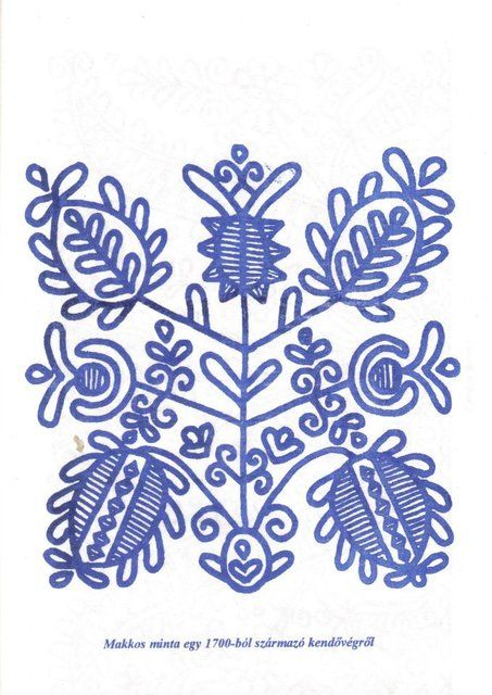 Magyar motívumok gyűjteménye - makkos minta egy 1700-ból származó kendővégről