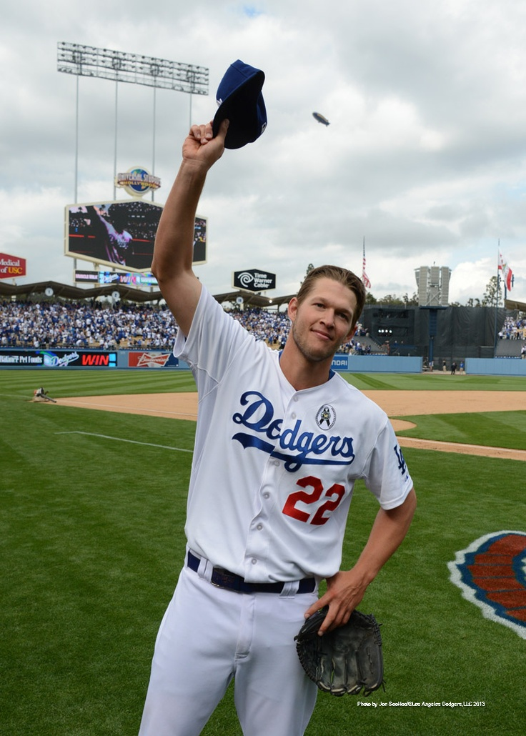 Kershaw salutes the fans after the Opening Day game...