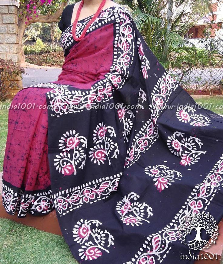 Elegant Cotton Saree with Batik work