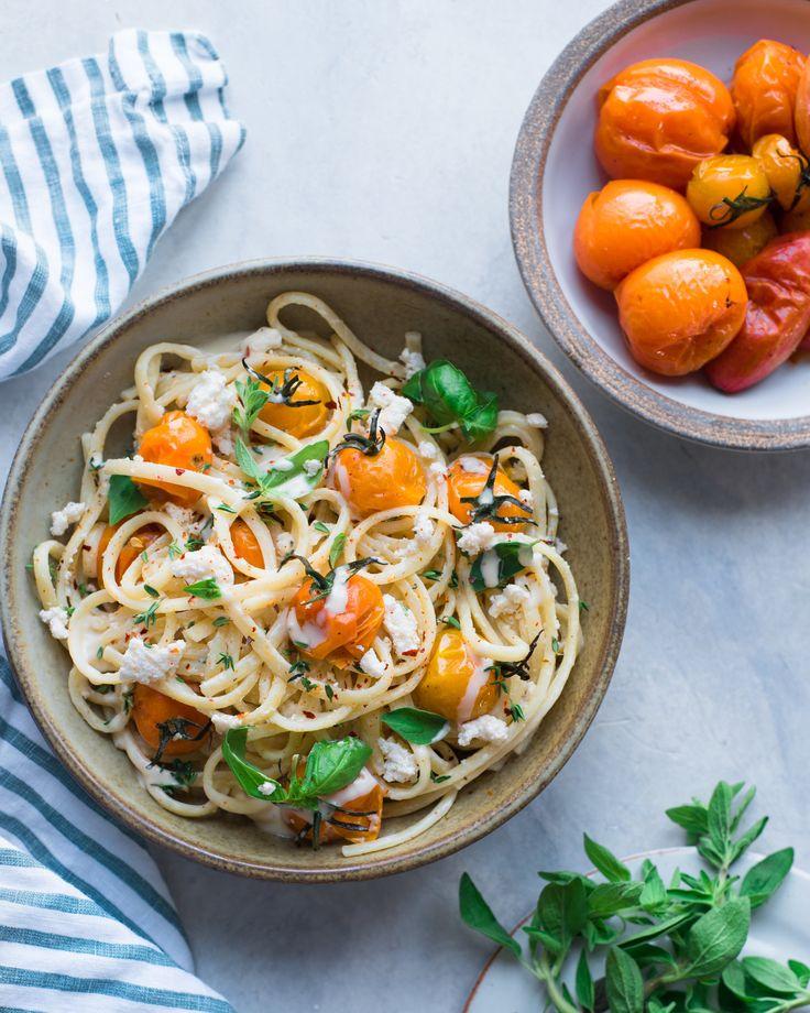 Vegan Fettuccine Alfredo with Roasted Tomatoes — Rainbow