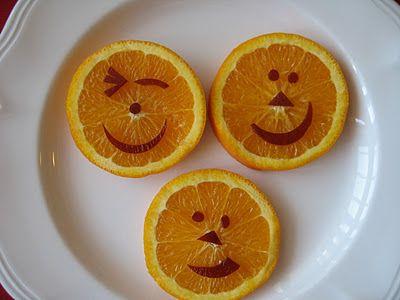 Healthy Halloween Orange Happy Faces