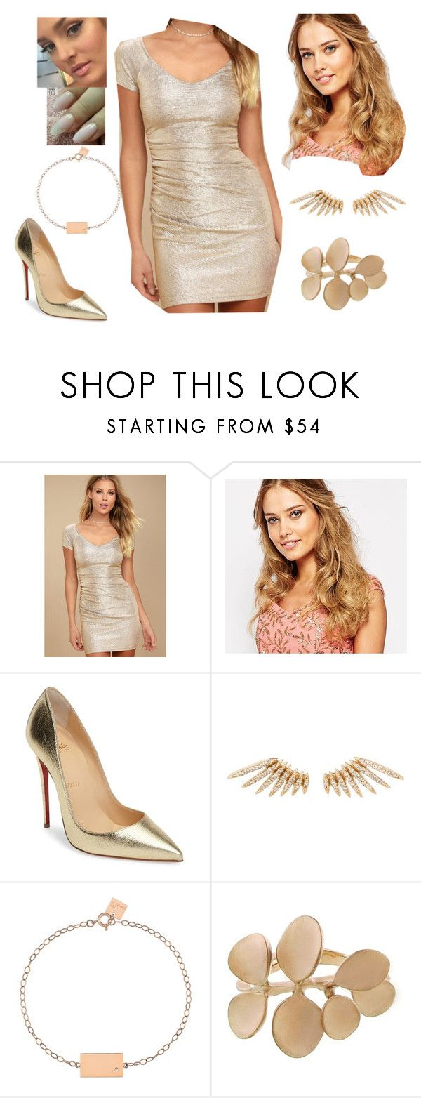 """""""Bez tytułu #19111"""" by sophies18 ❤ liked on Polyvore featuring LULUS, Virgos Lounge, Christian Louboutin, Celine Daoust, Ginette NY and Kataoka"""