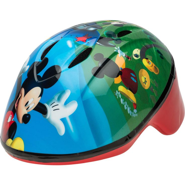 Mickey Mouse Toddler Bike Helmet features Mickey Mouse graphics and vivid colors.  Ideal for ages 3 to 5 years old.