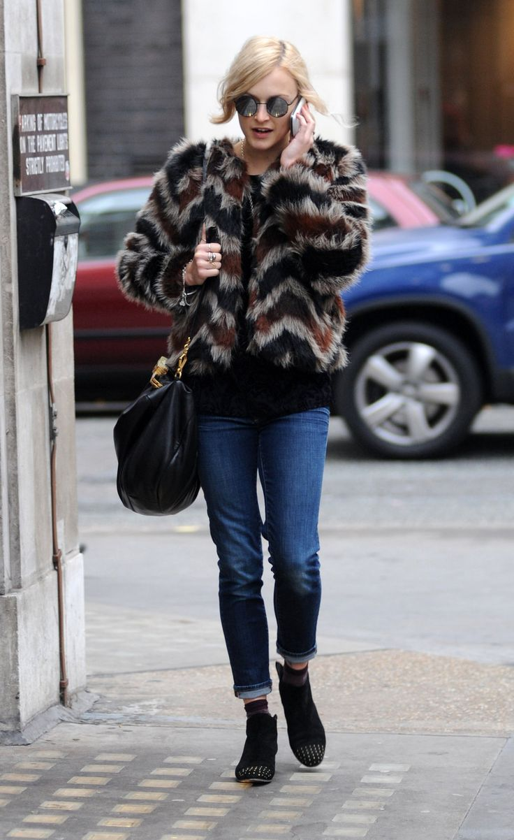 Grey, black, red zigzag patterned fur coat + jeans and black bag/ ankle boots