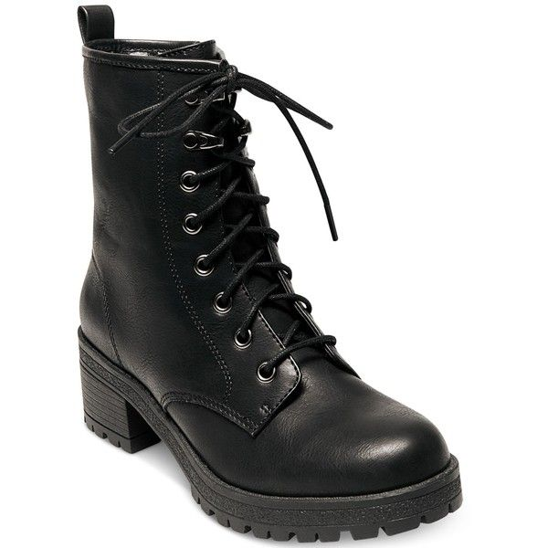 Madden Girl Eloisee Combat Booties ($69) ❤ liked on Polyvore featuring shoes, boots, ankle booties, black, military combat boots, black boots, black army boots, military boots and army boots