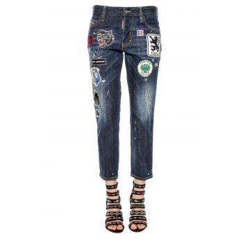 Blugi DSQUARED2 Jeans Boyfriend Jean Blue dama - Alege o pereche de blugi la moda, tip boyfriend foarte accesorizati, cu aspect uzat, cu rupturi si imprimeuri