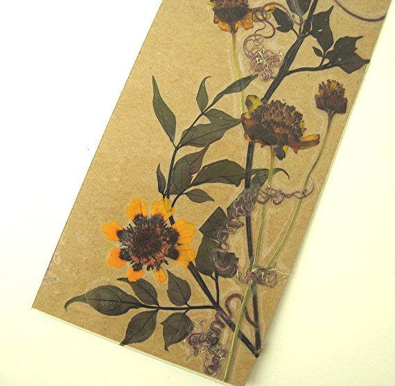 Nature Kraft Bookmark Pressed Flower Be Still by mingogardens