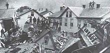 Johnstown Flood, Johnstown PA - May 31, 1889- happened due to the catastrophic failure of the South Fork Dam located 14 miles upstream.  20 million gallons of water released!  2,209 people killed.  Clara Barton of the American Red Cross took this on as their first major disaster relief project.