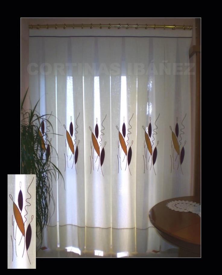 Cortina de visillo con tela sobrepuesta y bordada - Formas de cortinas ...