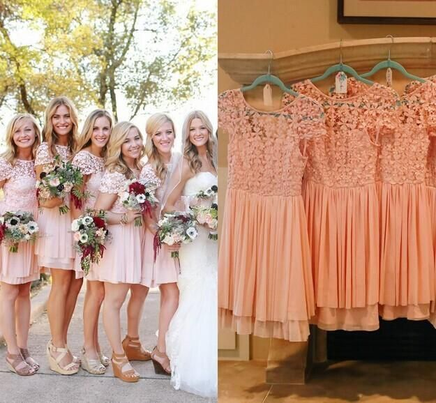 Elegant Coral Lace Bridesmaid Gowns Short Ruffles Maid of Honor Wedding Dresses