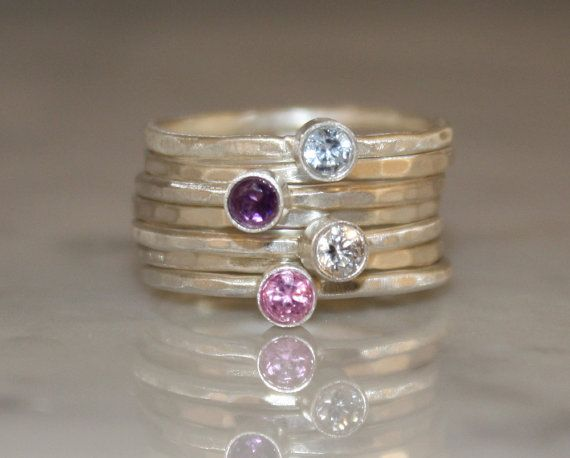 Birthstone Stacking Rings Family & Mother's by sherisdesigns, $150.00- future mothers day present...