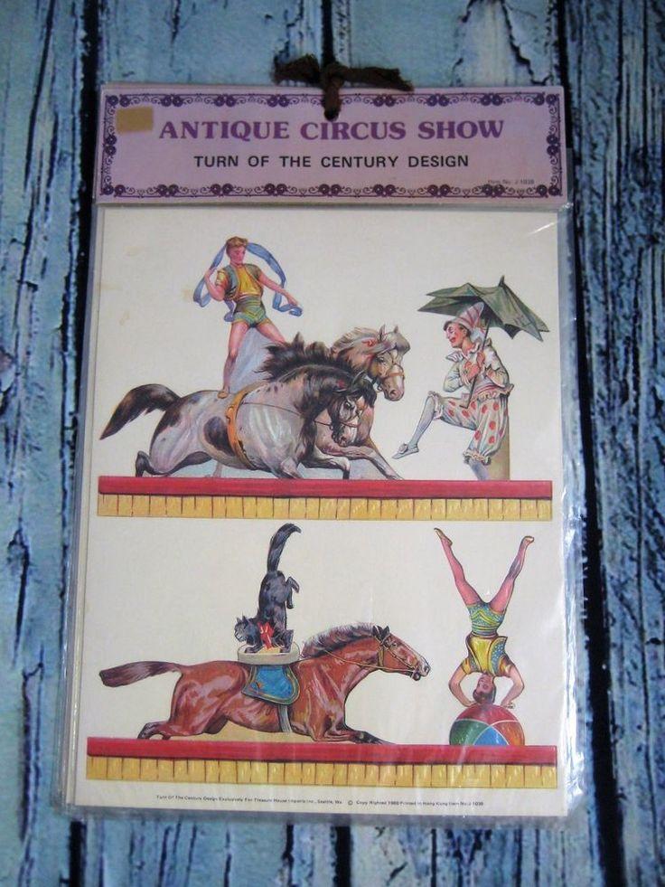 Antique Circus Show Turn of Century Design Cardboard Punch Outs Set of 5 NIP #TurnoftheCenturyDesign
