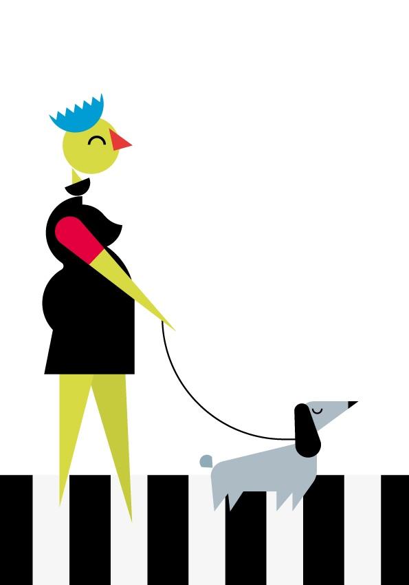 Streetwalker with sausage dog  Mommy  Aa/A3 splendorgel extra white 300 gr  Laserprint  #RL2