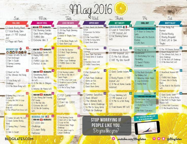 May 2016 Blogilates Workout Calendar! | Blogilates- DO IT!