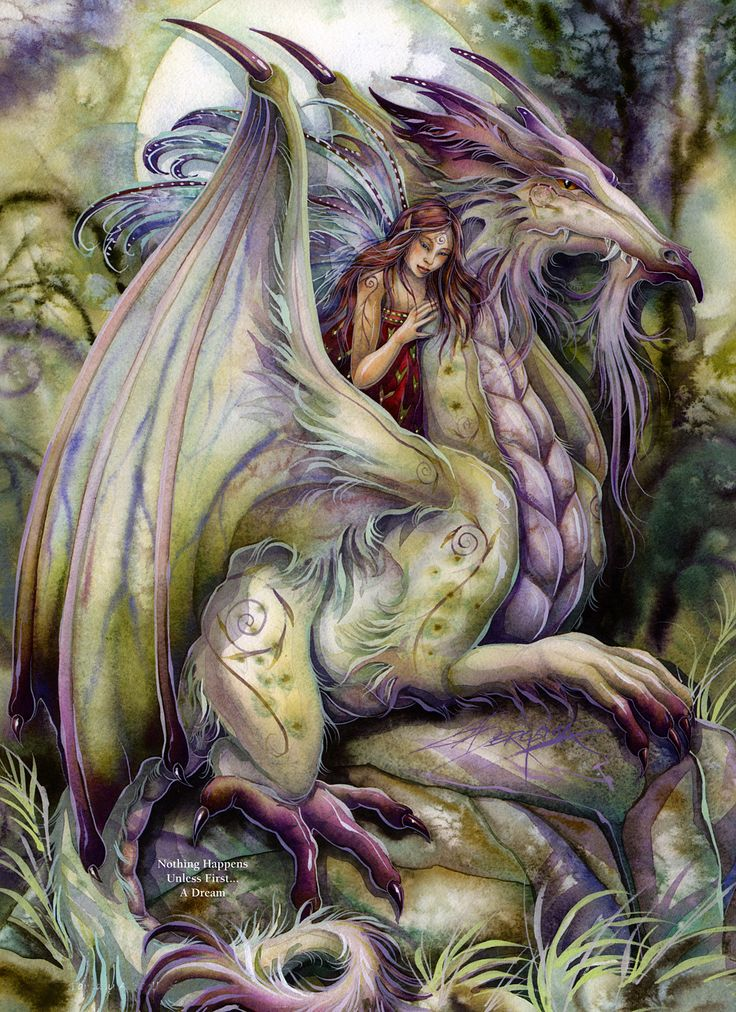 Jody Bergsma - picture of woman with dragon in muted greens and violets