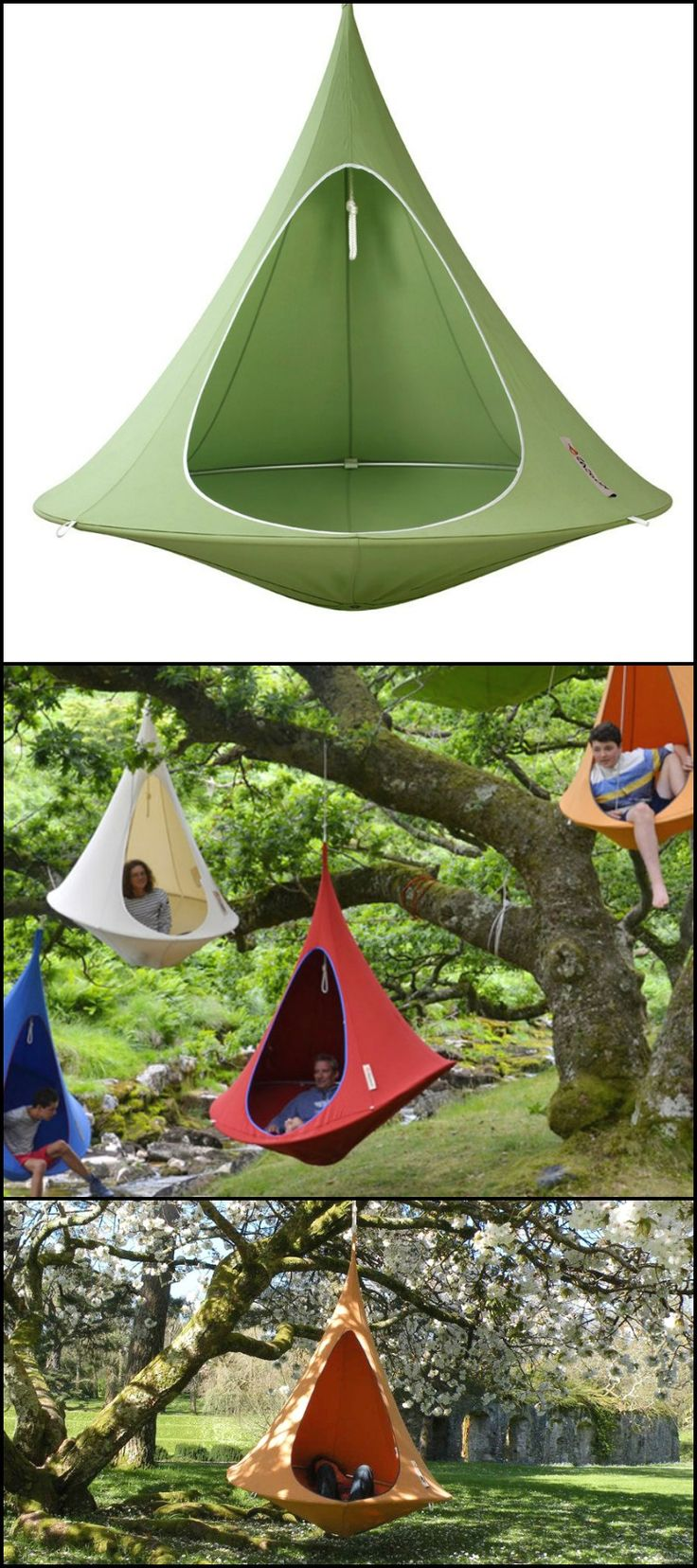 Need a good break after a crazy week at work?  http://amzn.to/1XTjBSC  This Cacoon hanging tent lets you relax in your own personal nest anytime, anywhere!  It is made with cotton and polyester blend canvas treated for UV rays and water resistance, strong nylon ropes and anodised aluminium ring.  It's easy to suspend and safe for both adults and kids. Definitely a great way to have some peace and quiet while having a bird's eye view of your beautiful surroundings.