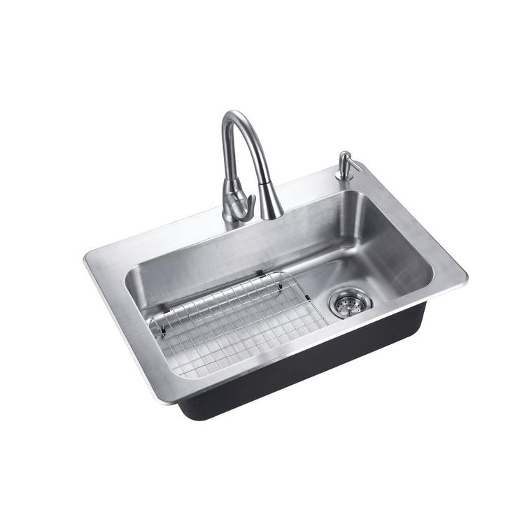 Glacier Bay All In One Drop In Stainless Steel 33 In. 2 Hole Single Basin  Kitchen Sink
