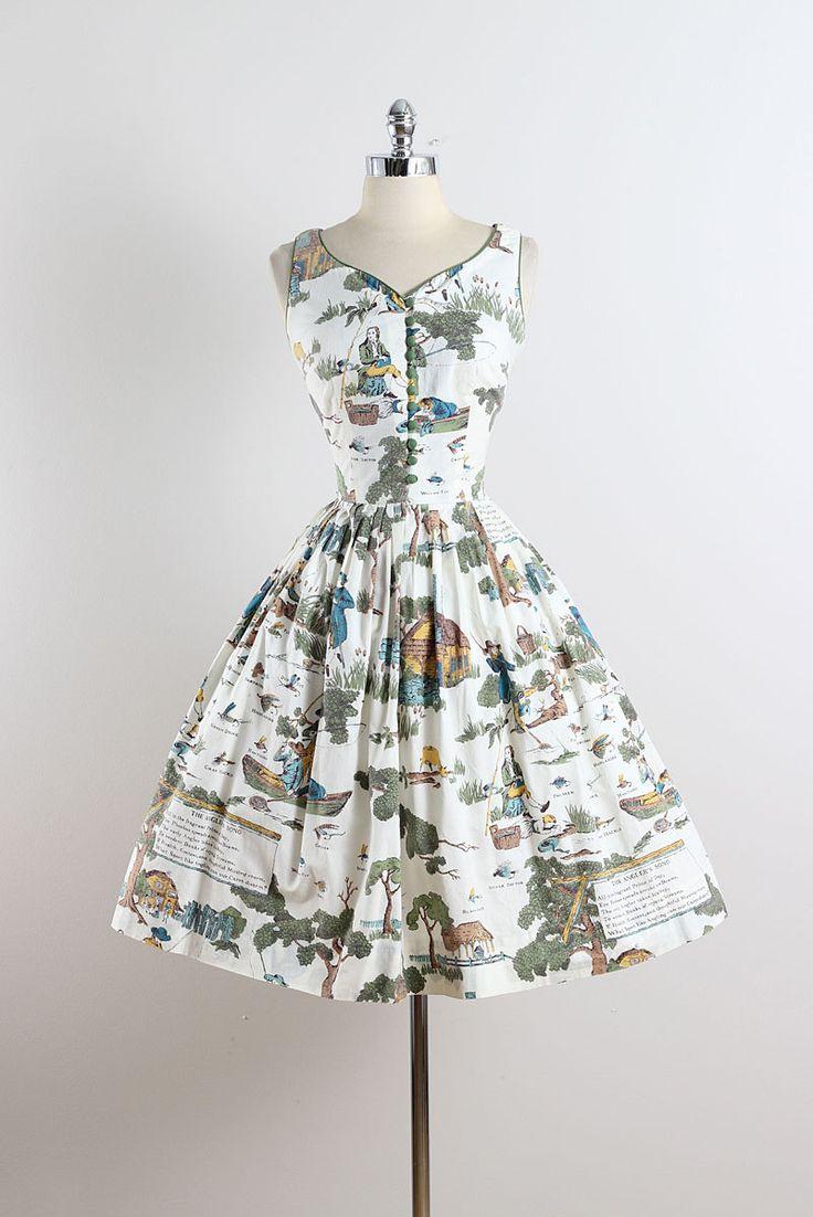➳ vintage jaren 1950 jurk  * witte katoenen * provinciale natuur nieuwigheid afdrukken * anglers song gedrukt op terug bodice * overdekte knop
