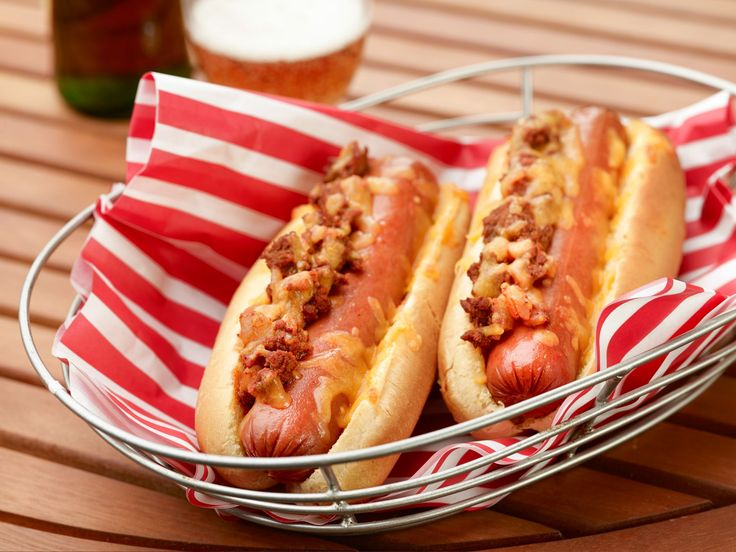 Devilish Chili-Cheese Dogs recipe from Rachael Ray via Food Network ***these are great if you add a little cumin to the meat