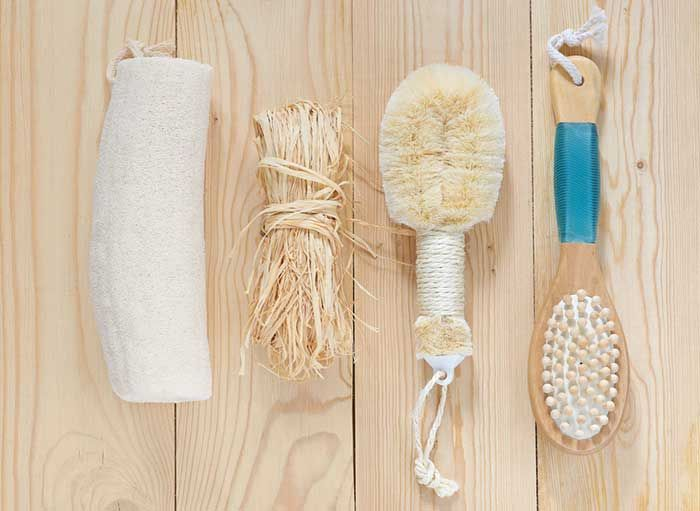 Skin brushing: Our moms never told us about skin brushing, but it's been around for centuries. It helps exfoliate skin beautifully, boost circulation, reduce cellulite, aid the immune system, and keep ingrown hairs away!