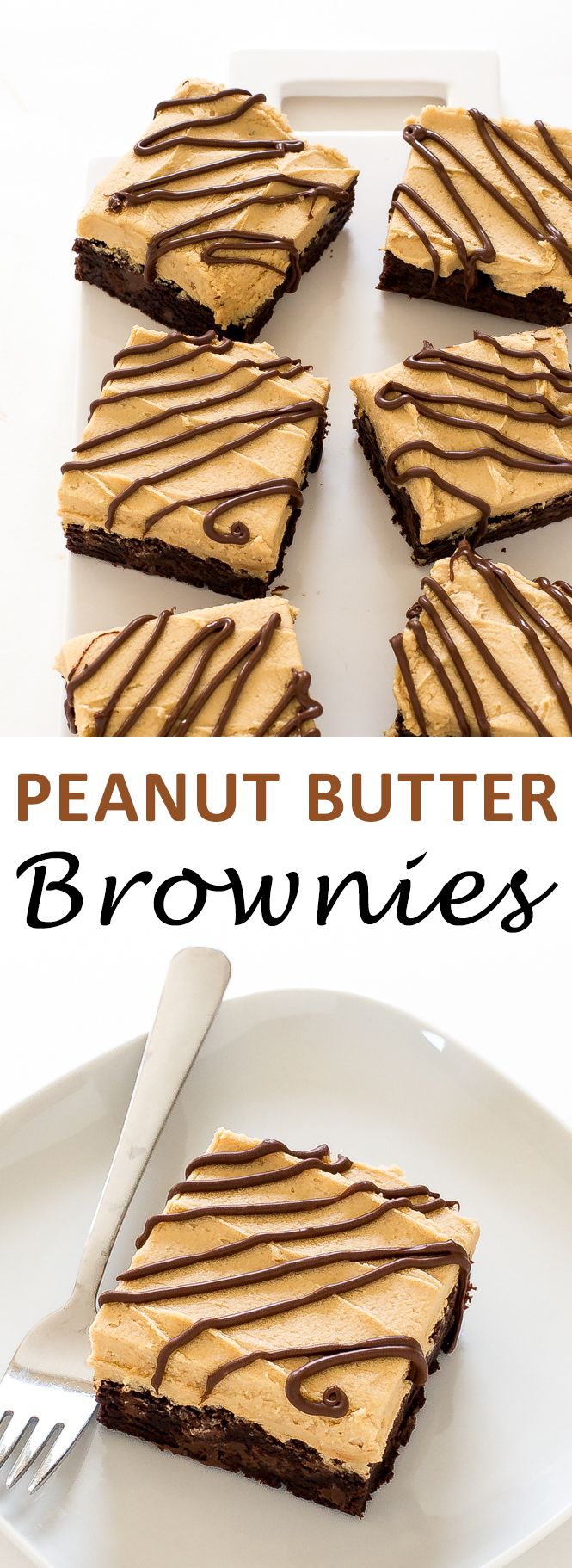 Super Rich & Decadant Chocolate Brownies with Peanut Butter Frosting. The BEST brownie you will ever have! | chefsavvy.com #recipe #dessert #peanut #butter #brownie #chocolate