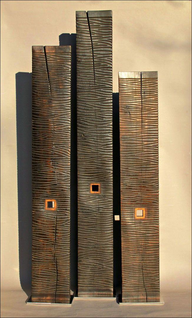 Colonnes chêne noires 140, 160, 180 cm                                                                                                                                                                                 Plus